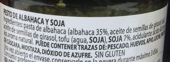 Pesto con Soja Vegano - Ingredientes - es