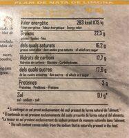Fan de nata y limon (Panna Cotta) - Información nutricional