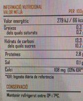 Yogur piña coco desnatado La Torre - Información nutricional