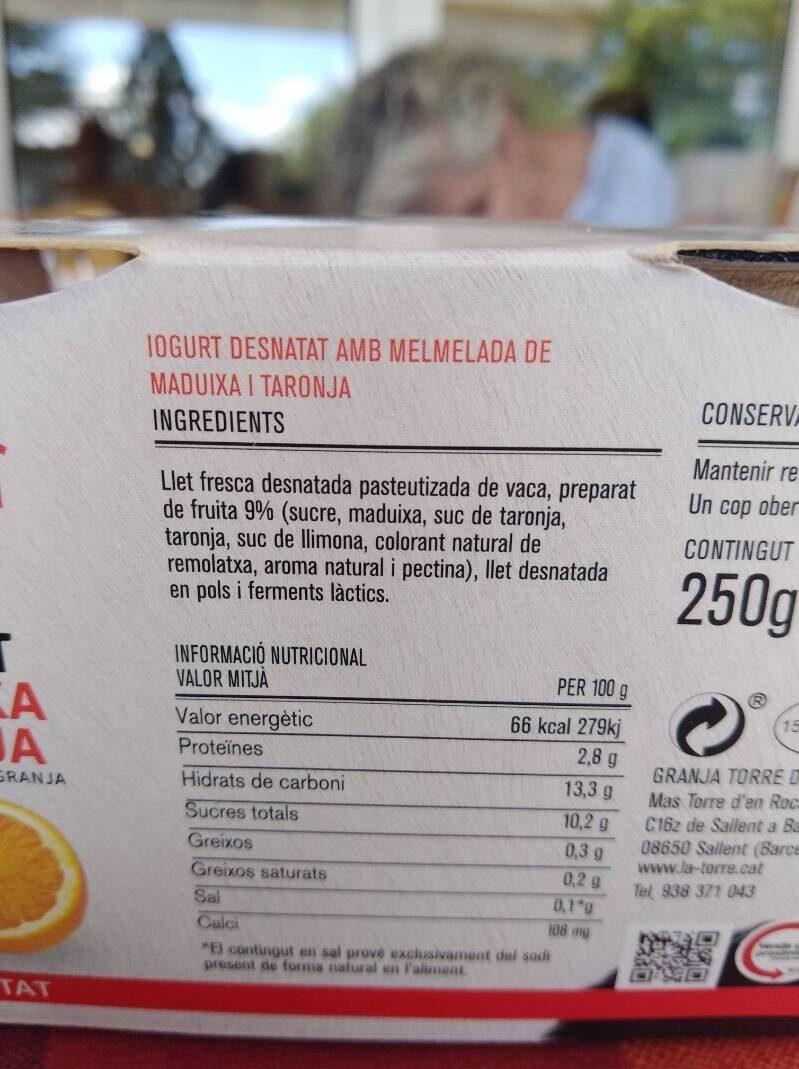 Iogurt maduixa taronja - Información nutricional