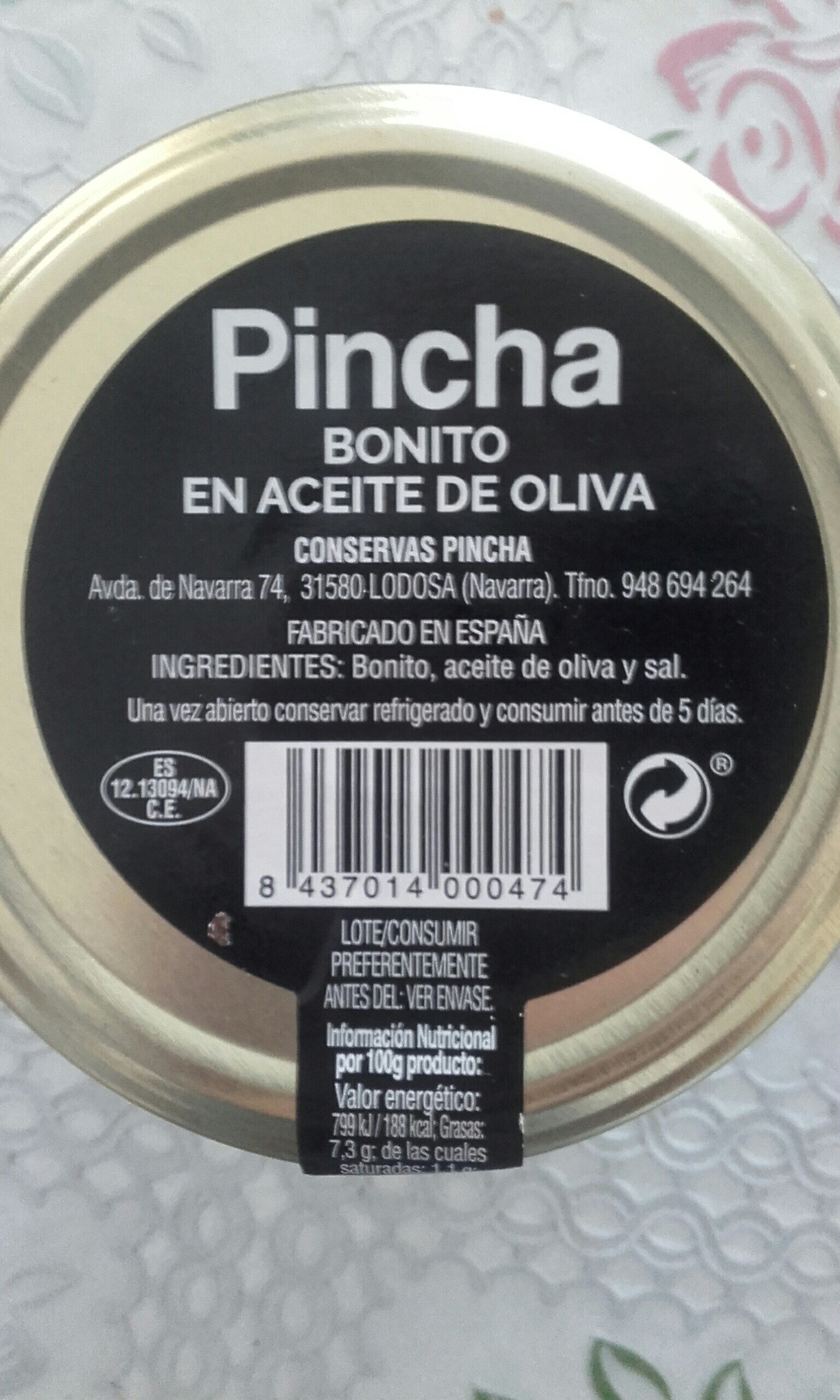 Bonito en aceite de oliva - Ingredients