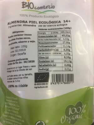 Almendra piel ecológica - Informations nutritionnelles