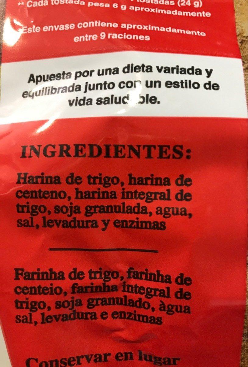 Pan Especial De Soja Tostado - Ingredients
