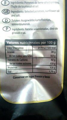 Patatas fritas - Informació nutricional