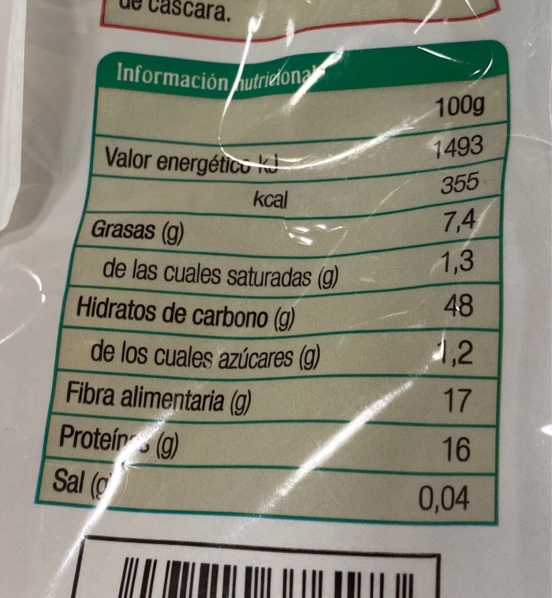 Salvado de avena - Nutrition facts - es