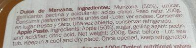 Dulce de Manzana - Información nutricional - es
