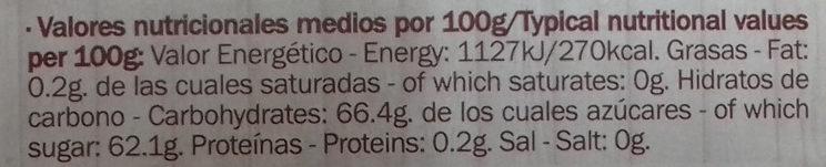 Dulce de manzana - Información nutricional