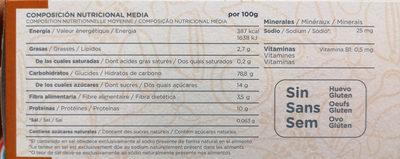 Papilla arroz integral, maiz y quinoa - Informació nutricional - es