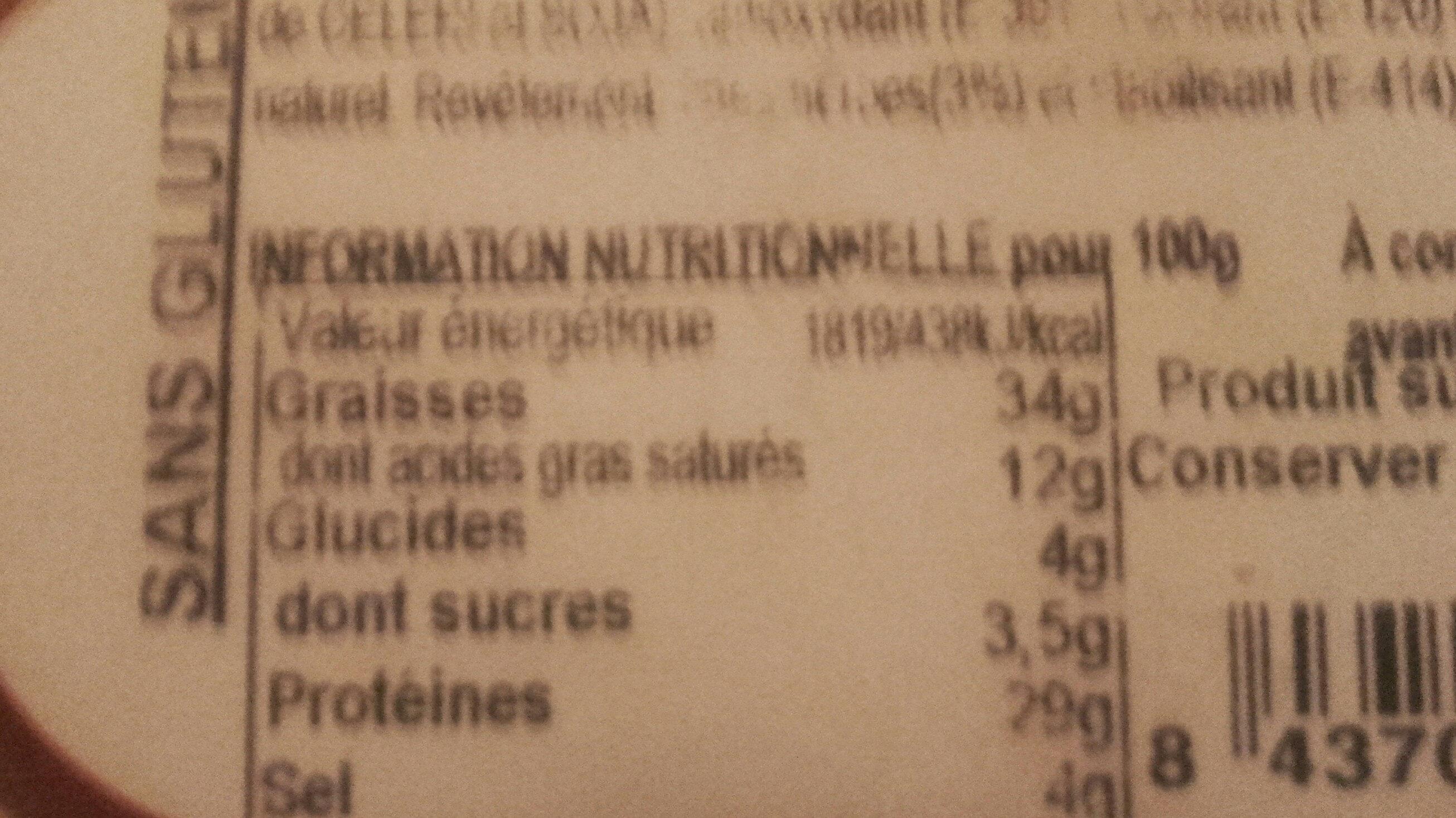 Saucisson - Nutrition facts - fr