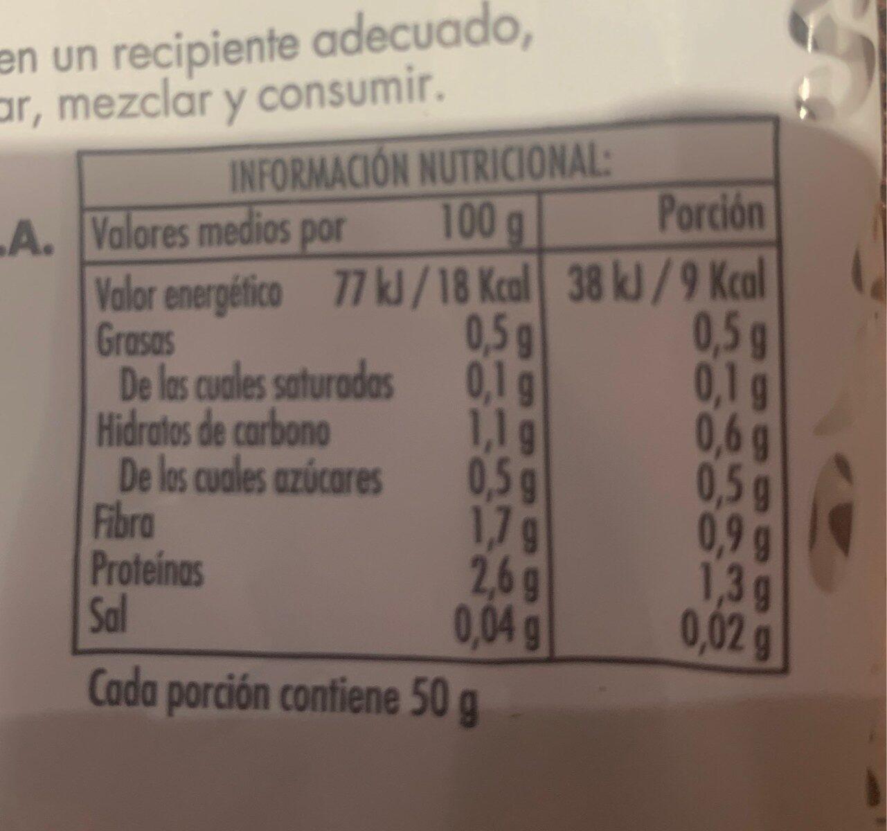 Rucula brotes tiernos - Información nutricional