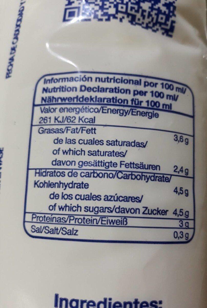 Leche entera pasterizada 1 litro - Información nutricional
