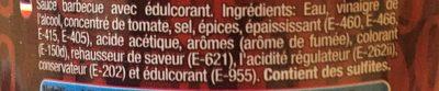 Salsa Barbacoa Sin Gluten 0% Grasas Natural Zero - Ingredientes - fr