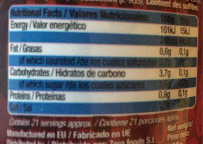 Salsa Barbacoa Sin Gluten 0% Grasas Natural Zero - Información nutricional - fr