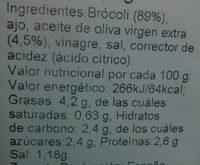 Brócoli salteado - Información nutricional - es