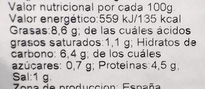 Espinacas con garbanzos - Información nutricional