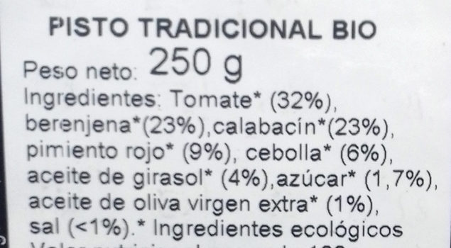 Pisto tradicional - Ingrédients