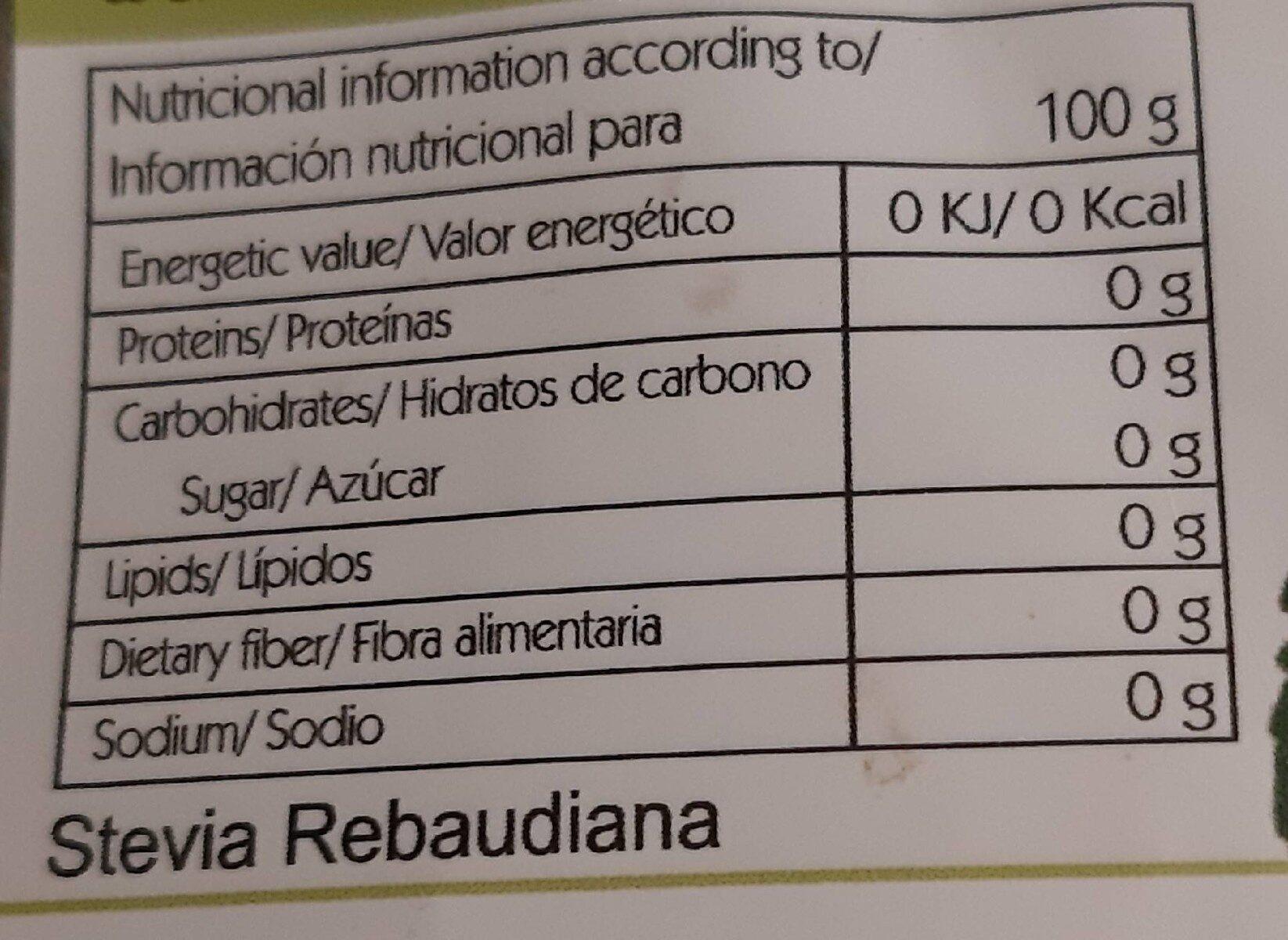 Stevia Disfruttal - Información nutricional - es