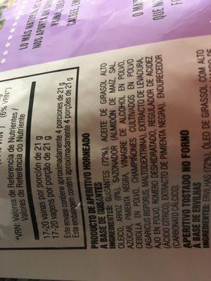 Snapea Crisps Pimienta Negra Al Toque De Romero 85GR - Ingredientes