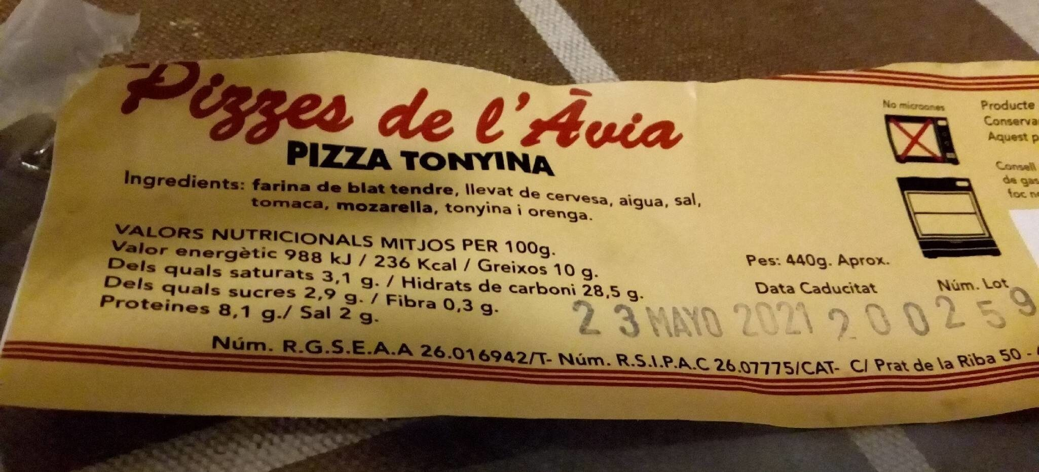 PIZZA ATÚN - Nutrition facts - es