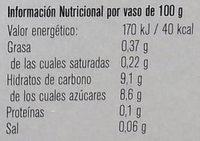 Postre de avena sabor chocolate - Informació nutricional