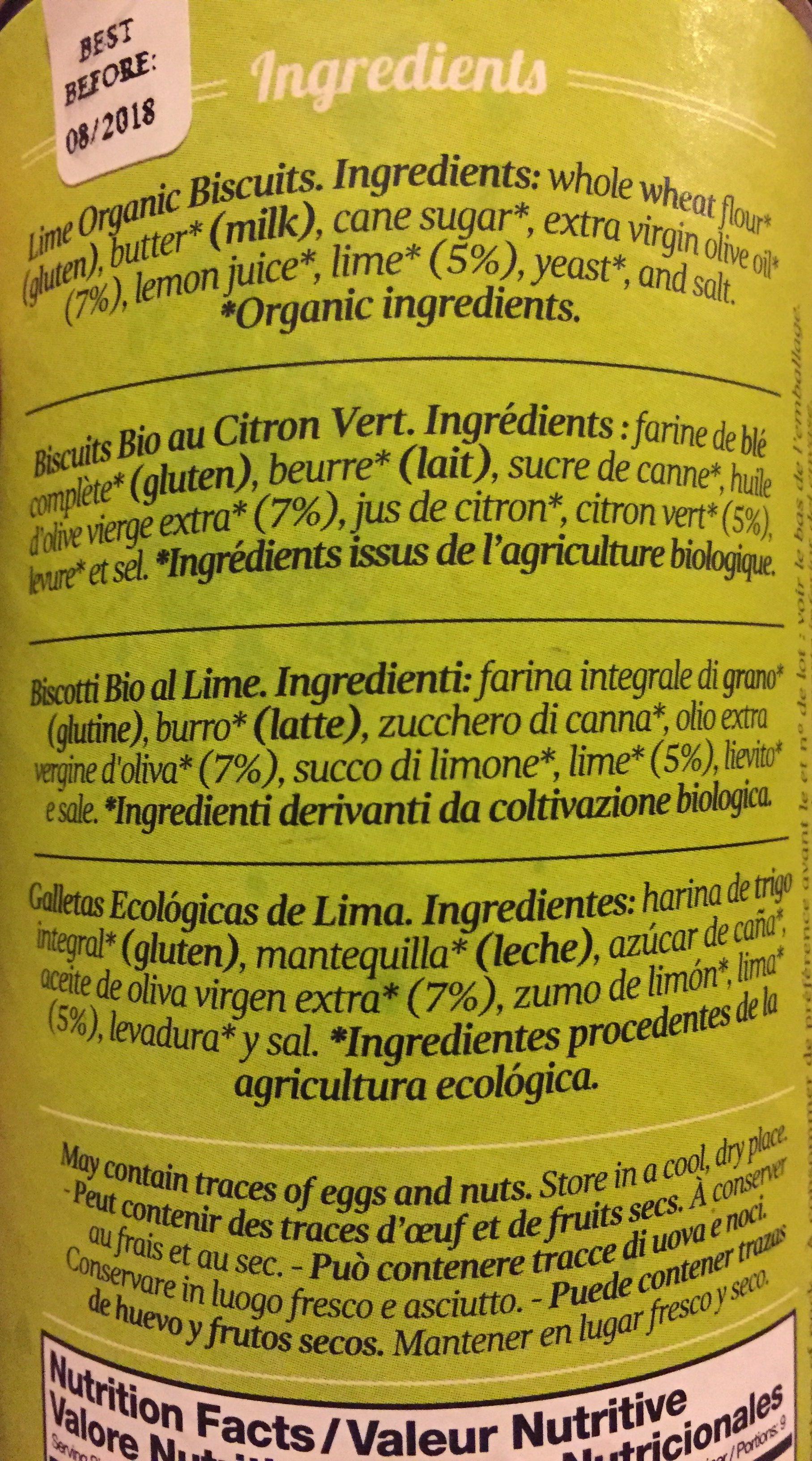 Biscuits Bio Au Citron Vert - Ingredientes