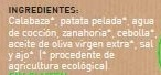 Crema de Calabaza ecológica - Ingrédients