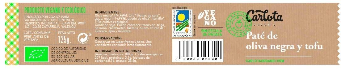 Paté de Oliva Negra y Tofu ecológico - Ingredientes - es