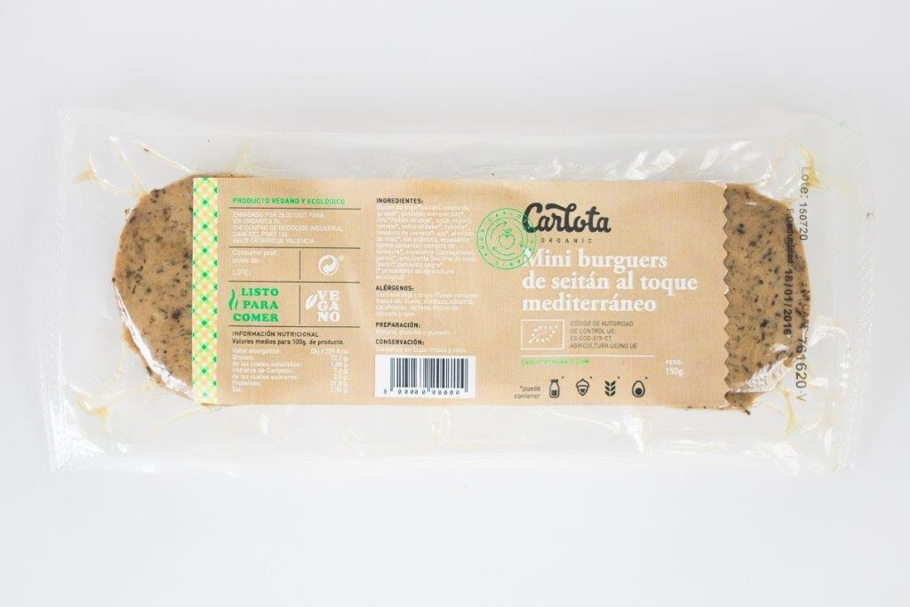 Mini Burguers de Seitán al toque Mediterráneo ecológicas - Producto - es