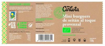 Mini Burguers de Seitán al toque Provenzal ecológicas - Ingredientes - es