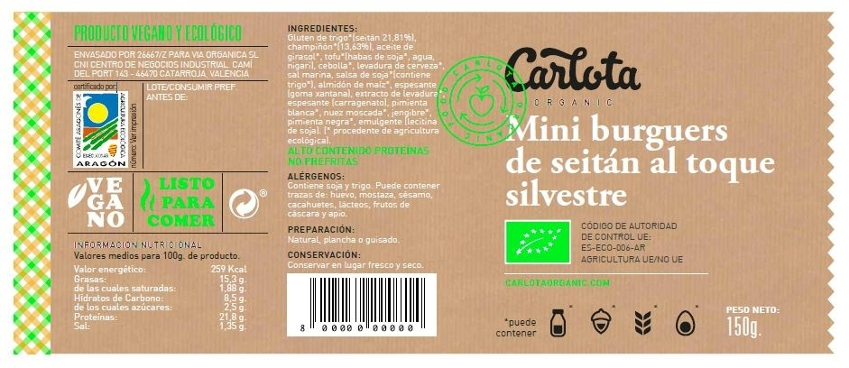 Mini Burguers de Seitán al toque Silvestre ecológicas - Ingrédients - es