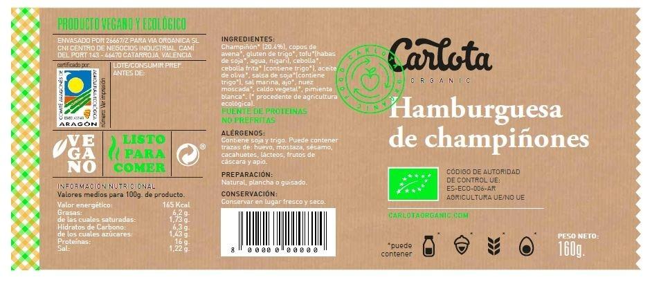 Hamburguesas de Champiñones vegetales y ecológicas - Ingredientes