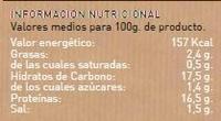 Hamburguesas de quinoa y borraja vegetales y ecológicas - Informations nutritionnelles