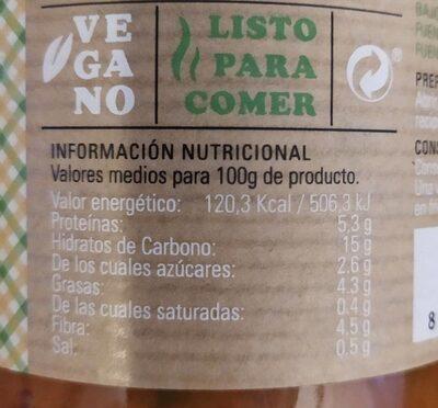 Potaje de garbanzos con alga kombu - Nutrition facts