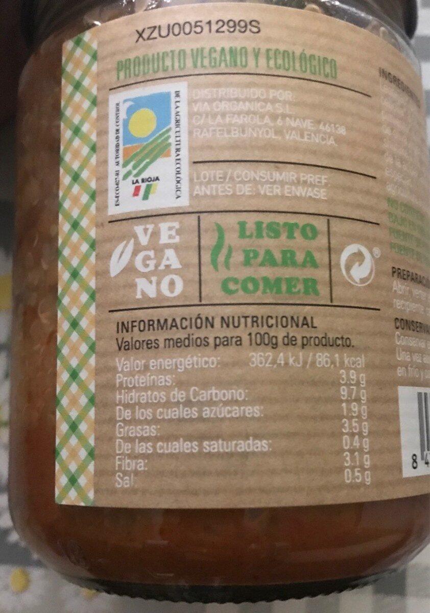Guiso de lentejas y quinoa - Nutrition facts
