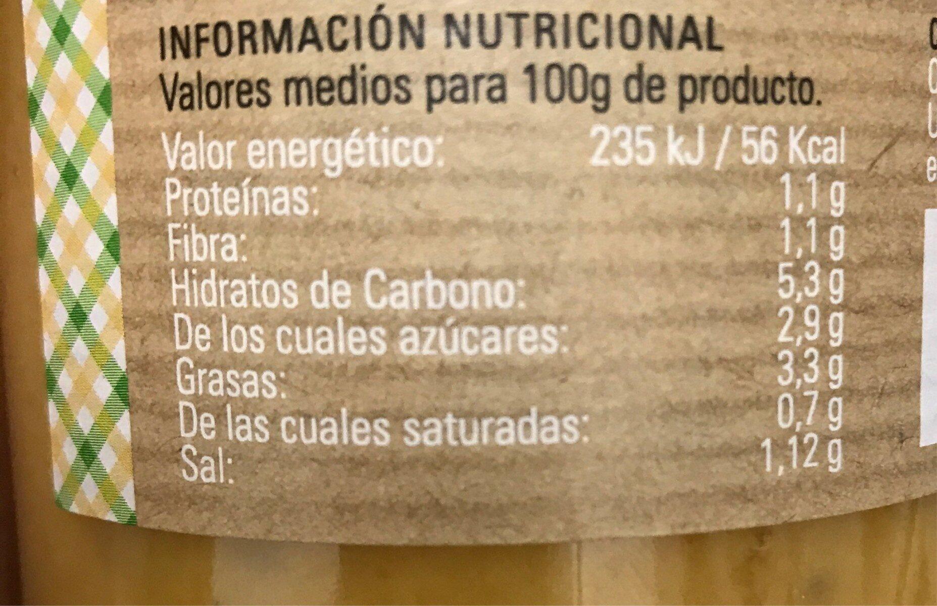 Crema de calabaza con chia - Nutrition facts