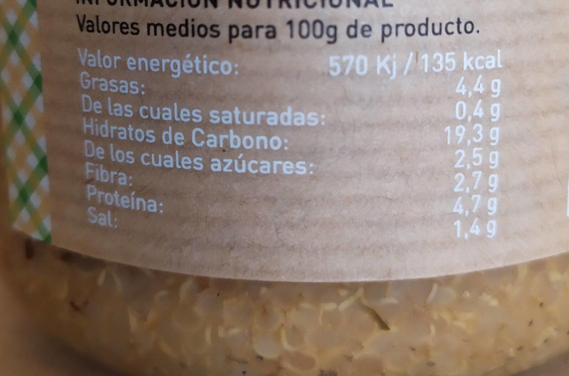 Quinoa con Verduras y Salsa Soja - Nutrition facts