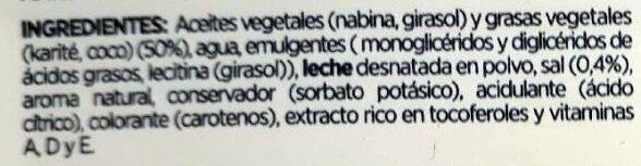 Margarina sabor Mantequilla - Ingredientes