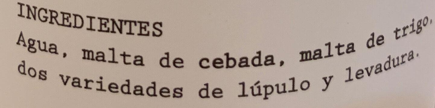 Peña blanca - Ingrediënten - es