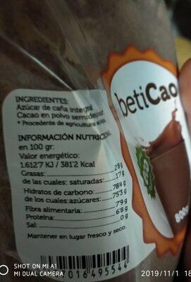 Beticao cacao soluble - Información nutricional