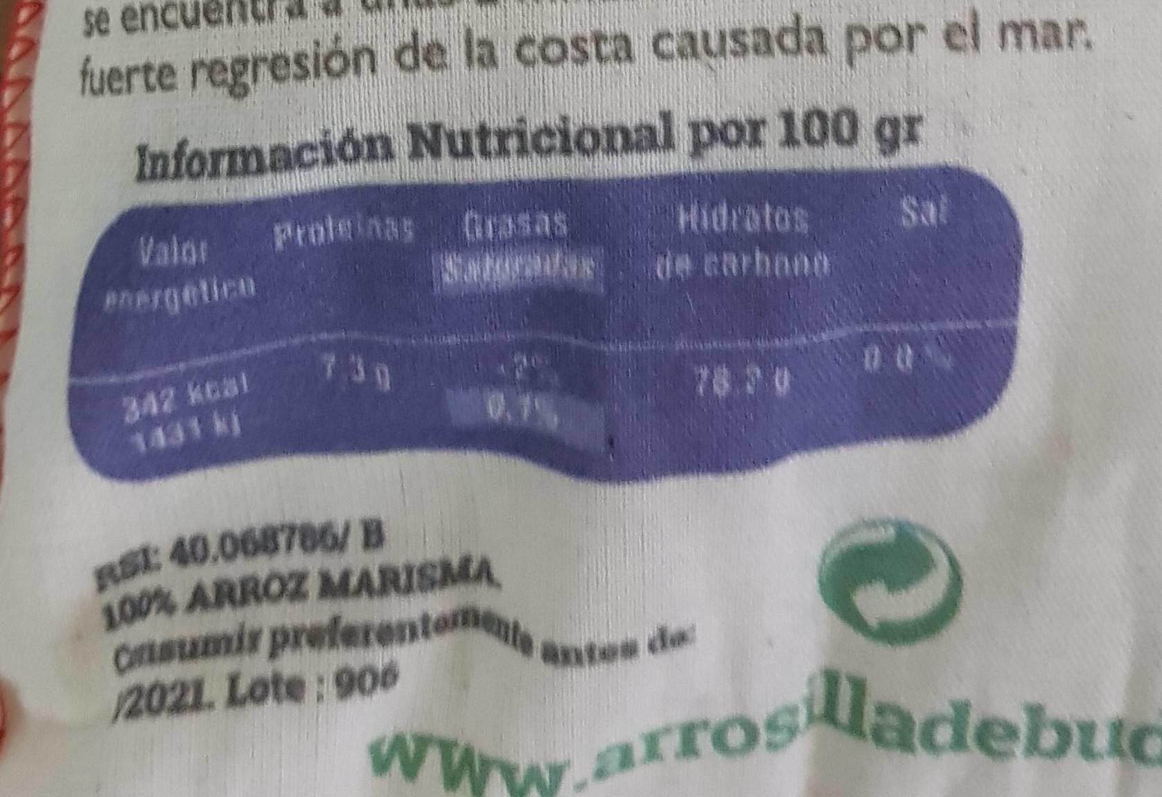 Arroz Redondo Marisma de la Isla de Buda - Nutrition facts