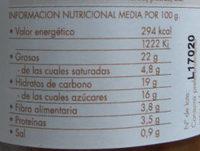 Sofrito de cebolla con pasas y piñones - Información nutricional