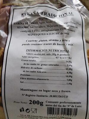 Regañá - Informations nutritionnelles - es
