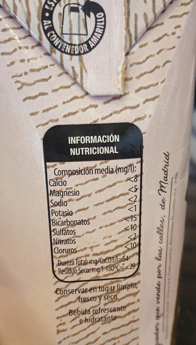 Agua 500ml - Información nutricional - es
