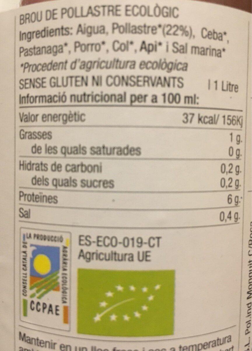 Brou Pollastre Ecològic - Informations nutritionnelles - es