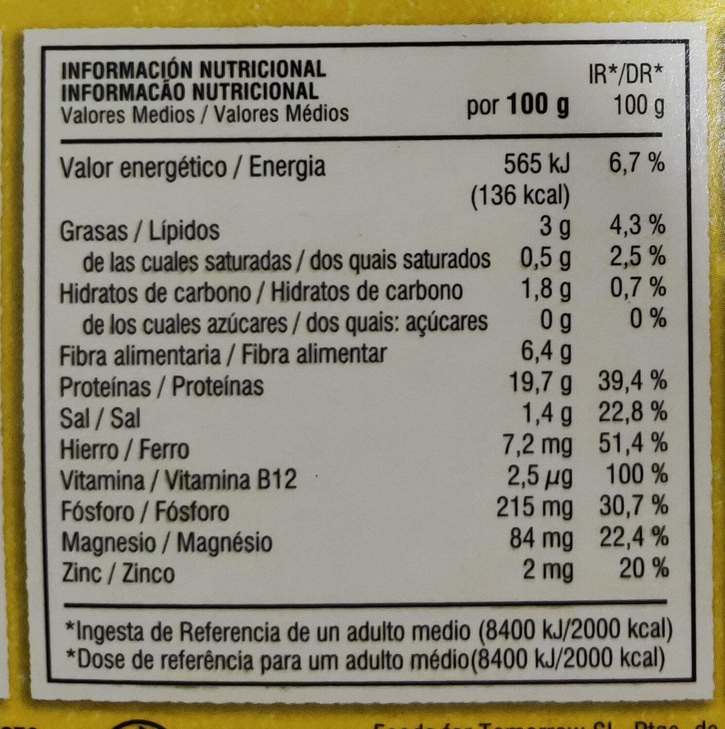 Bocados originales - Nutrition facts - es