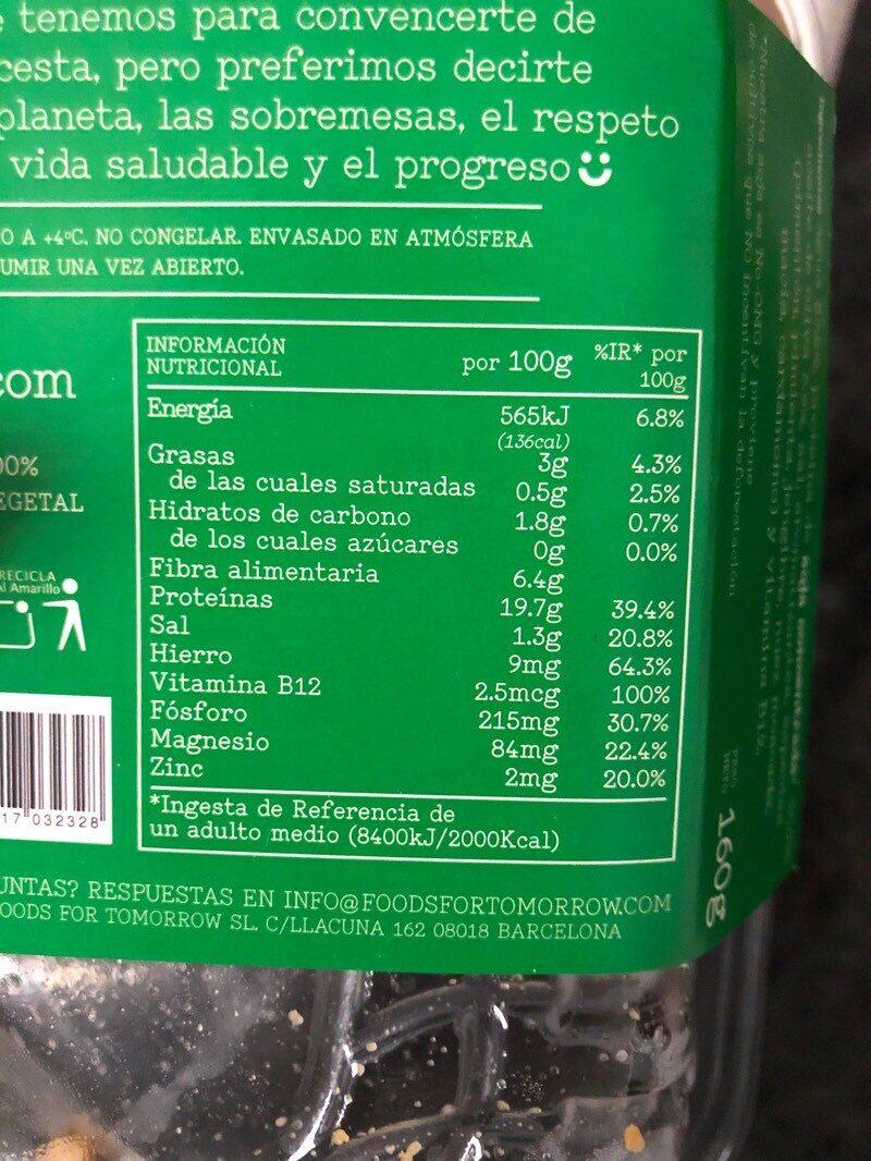 Tiras de soja - Información nutricional - es