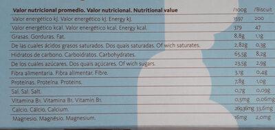 Biocookies baby - Información nutricional - es