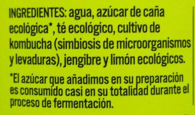 Kombutcha jengibre y limon - Ingrédients - fr