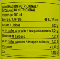 Kombutcha jengibre y limon - Informations nutritionnelles - fr