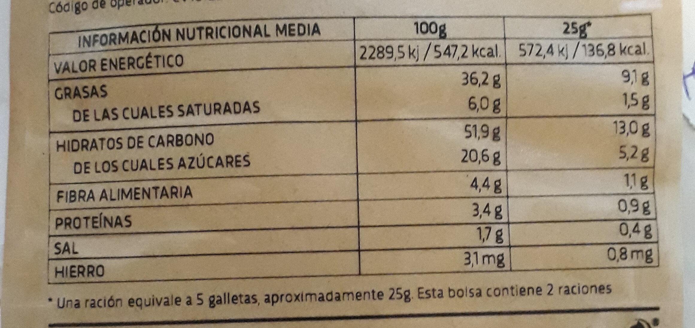 galletas de chufa ecológicas - Información nutricional - es